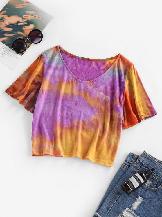 outfit ZAFUL Tie Dye V Neck T Shirt - MULTI M