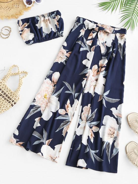 affordable Two Piece Floral Bandeau Top and Palazzo Pants Set - DEEP BLUE S
