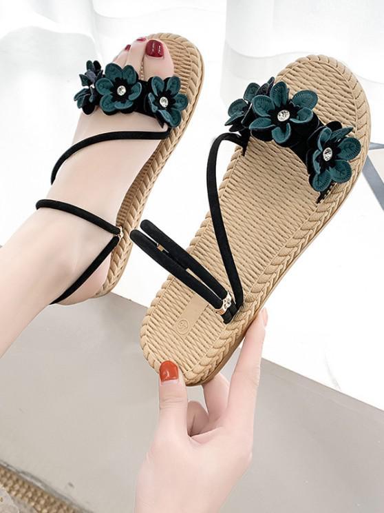 Flache Sandalen mit Blumendekor und Riemchen - Grün EU 37