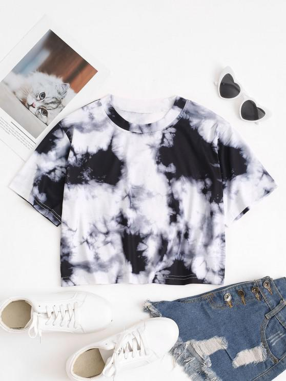 chic Tie Dye Print Short Sleeve Cropped T-Shirt - GRAY M