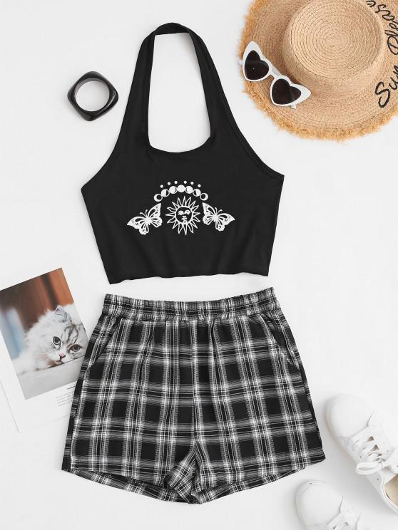 women Butterfly Print Halter Crop Top and Plaid Shorts Set - BLACK M