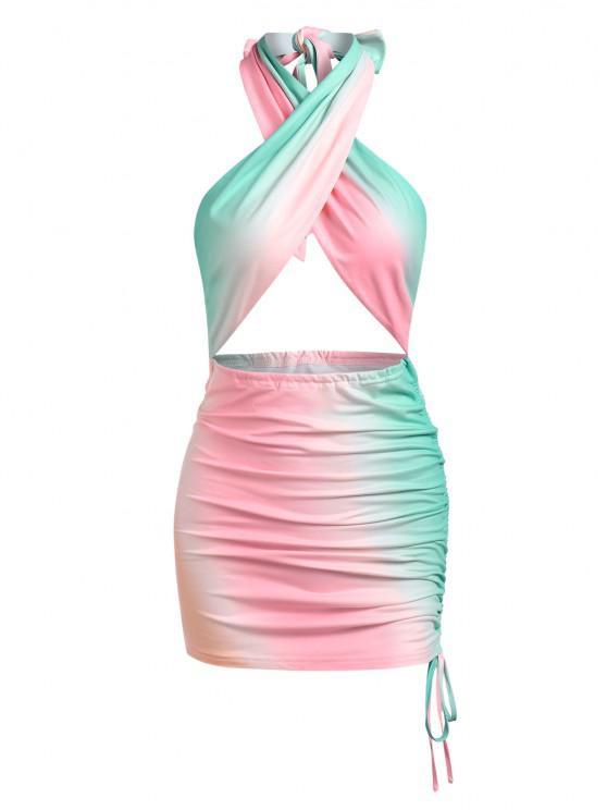 womens ZAFUL Colorblock Cinched Halter Criss Cross Bodycon Dress - MULTI S