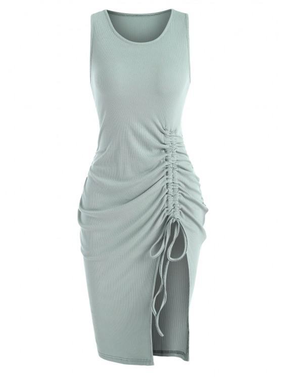 sale Rib-knit Cinched Ruched Split Slinky Hem Tank Dress - GREEN M