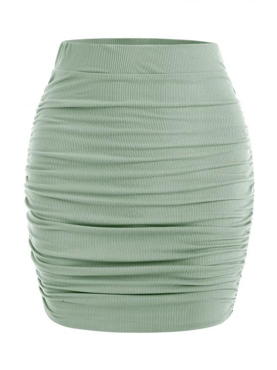 ladies Slinky Ribbed Ruched Side Mini Skirt - GREEN M