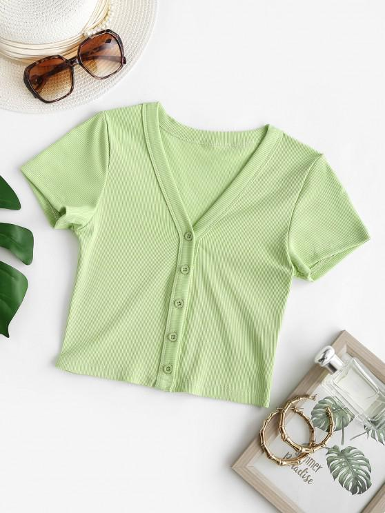 chic Rib-knit Button Up Baby Top - GREEN S