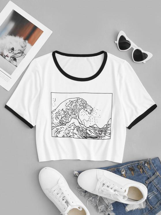 Camiseta Corta con Estampado de Onda de Mar - Blanco S