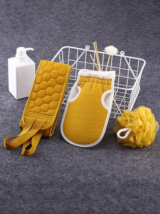 3Pcs Scrubbing Towel Shower Bath Puff Sponge Set - قضبان ذهبية