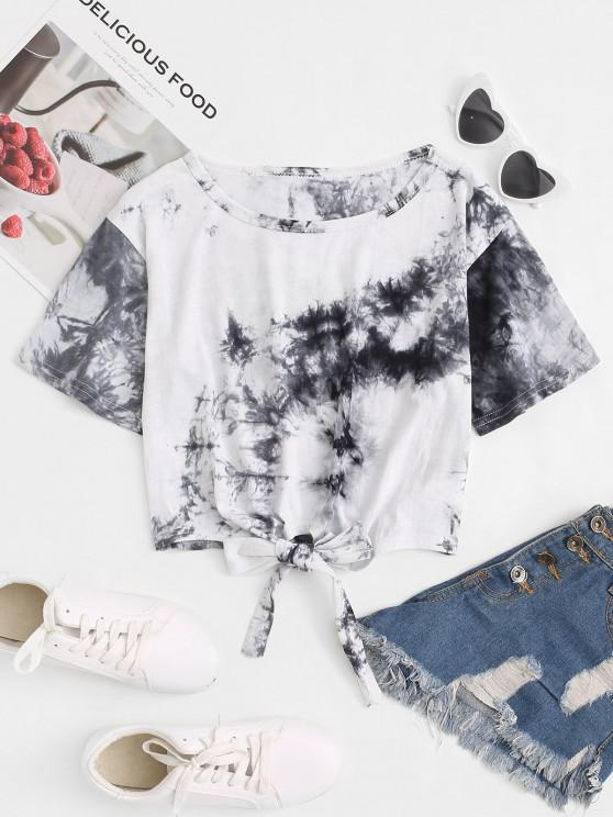 hot Tie Dye Print Tie Front Cropped Tee - GRAY S