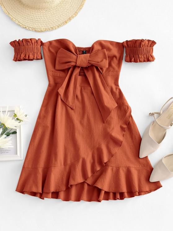 online Off Shoulder Ruffle Smocked Tie Front Dress - COFFEE S