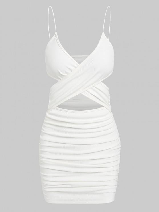 affordable ZAFUL Ribbed Criss Cross Ruched Bodycon Dress - WHITE XL