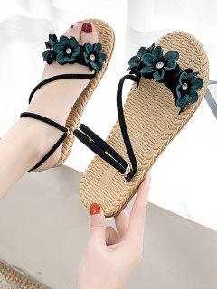 Flower Decor Woven Sole Strappy Flat Sandals - Green Eu 40