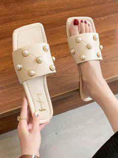 Square Toe Faux Pearl Topstitching Flat Slides - White Eu 40