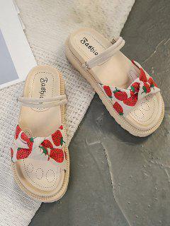 Fruit Print Bowknot Vamp Flat Sandals - Red Eu 40