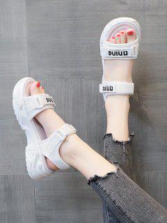 Buchstabedruck Klobige Sportliche Flache Sandalen - Weiß Eu 40
