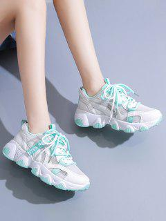 Two Tone Lace-up Mesh Dad Sneakers - Green Eu 40