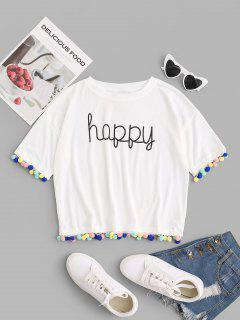T-Shirt Grafica Con Bordi Decorati Con Pompon - Bianca M