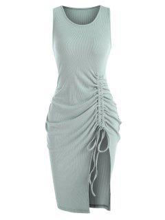 Rib-knit Cinched Ruched Split Slinky Hem Tank Dress - Green S