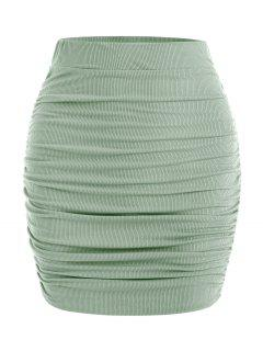 Slinky Ribbed Ruched Side Mini Skirt - Green M