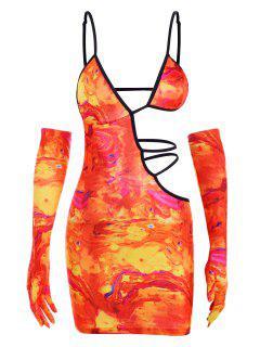 Vestido Teñido Escotado De Corbata - Naranja M