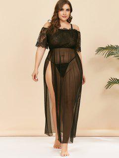 Plus Size Lace And Mesh High Slit Lingerie Gown - Black 2xl
