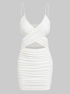 ZAFUL Bodycon Geripptes Kleid Mit Rüschen - Weiß M