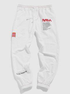 ZAFUL Pantalones Deportivos Con Estampado De Bandera Americana - Blanco S