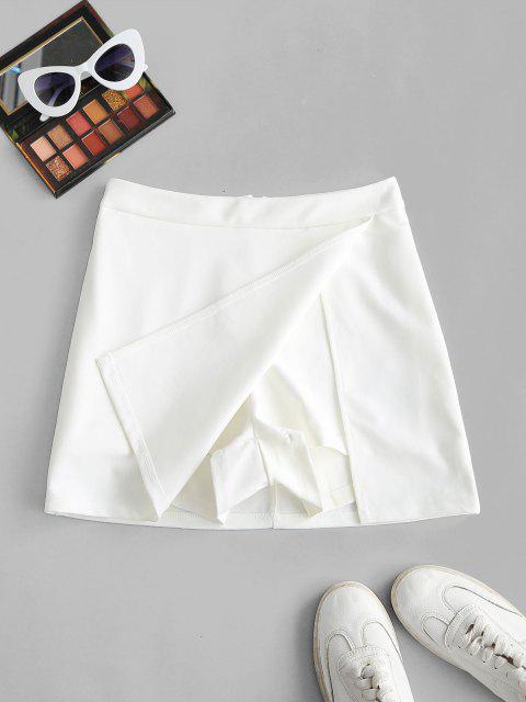 buy Slit Skirt with Shorts Underneath - WHITE M Mobile