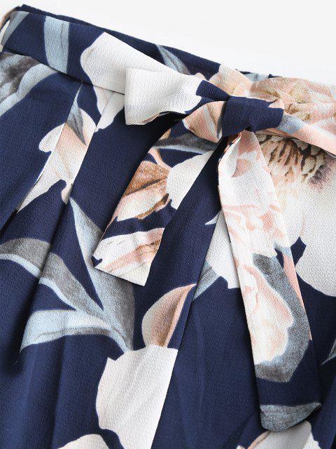 fancy Two Piece Floral Bandeau Top and Palazzo Pants Set - DEEP BLUE M Mobile