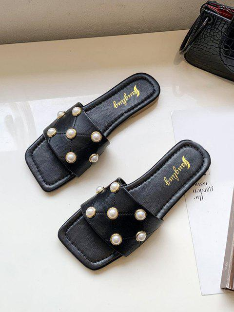 Quadratische Zehe Künstliche Perle Kubische Pantoffel - Schwarz EU 37 Mobile