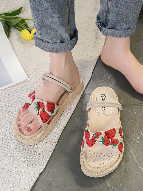 Fruchtdruck Bowknot Scrunch Butt Floral Floral Floral Floral Floral Flache Sandalen - Rot EU 37 Mobile