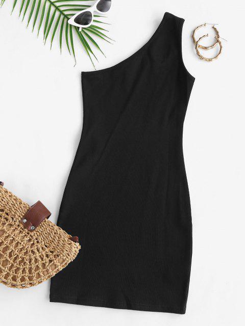 Einziger Schulter Ausschnitt Rippen Bodycon Partykleid - Schwarz S Mobile
