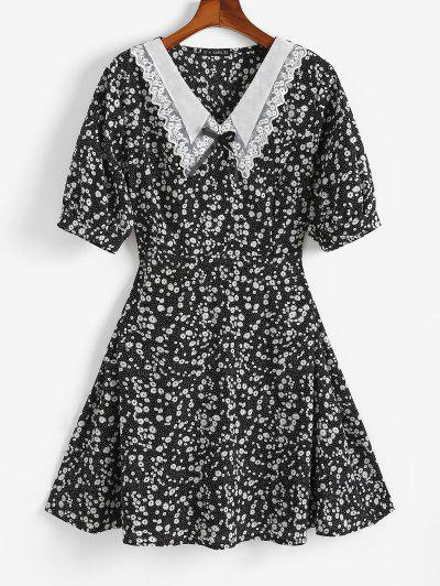 ZAFUL Plus Size Ditsy Print Organza Flat Collar Dress - Black L