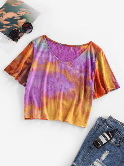 ZAFUL Tie Dye V Neck T Shirt - Multi M