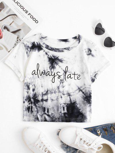 Tie Dye Slogan Print Cropped T-shirt - Gray M