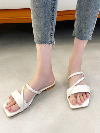 Square Toe Strappy Slip-On Flat Sandals - White Eu 40