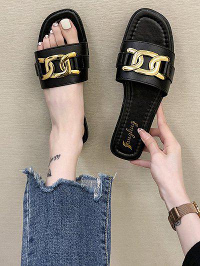 Gold-Tone Chunky Chain Decorated Flat Slides - Black Eu 37