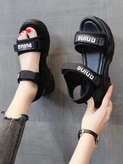 Letter Print Chunky Sporty Flat Sandals - Black Eu 37