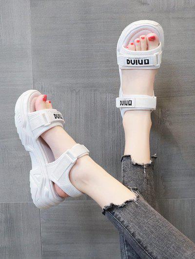Letter Print Chunky Sporty Flat Sandals - White Eu 40