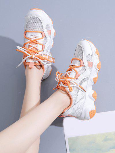 Two Tone Lace-up Mesh Dad Sneakers - Tangerine Eu 39