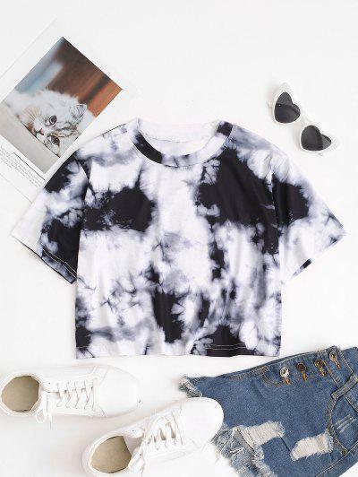 Tie Dye Print Short Sleeve Cropped T-Shirt - Gray S