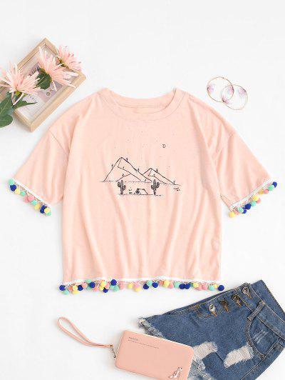 Desert Cactus Print Pom Pom Trim T-Shirt - Light Pink S