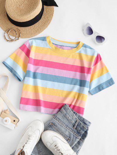 Rainbow Stripe Crop Tee - Multi M