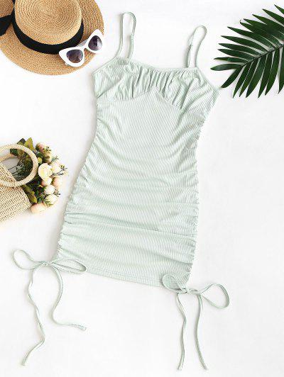 ZAFUL Plus Size Rib-knit Cinched Ruched Slinky Bodycon Cami Dress - Light Green L