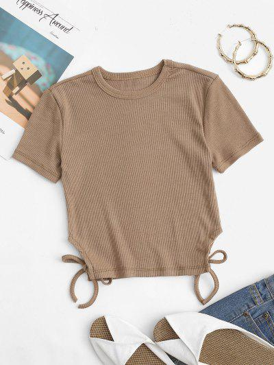 Camiseta De Bebé Manga Larga Dobladillo De Punto Con Cordones - Café S