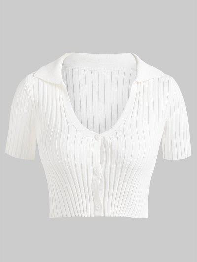 ZAFUL Ribbed Slim Crop Short Sleeve Cardigan - White S