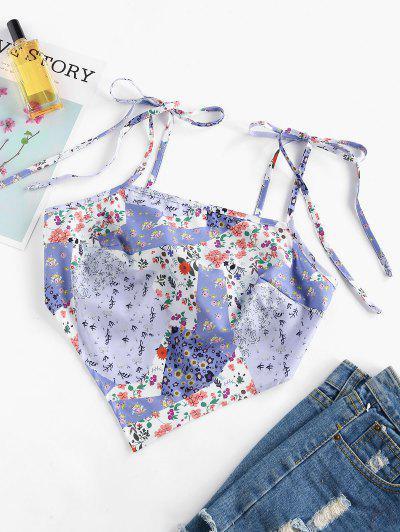 ZAFUL Top Bikini Bandeau Con Estampado De Flores - Luz Púrpura Xl