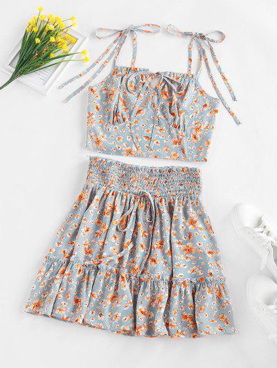 ZAFUL Flower Print Smocked Bowknot Ruffle Skirt Set - Light Blue M