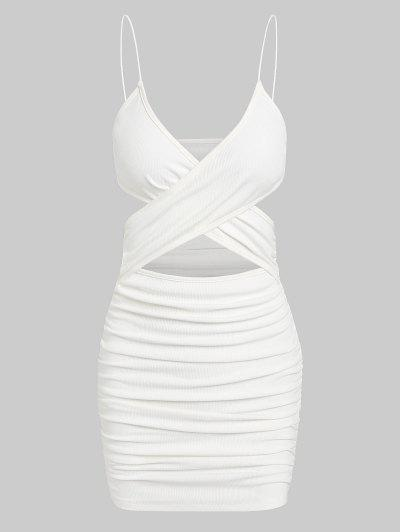 ZAFUL Ribbed Criss Cross Ruched Bodycon Dress - White S