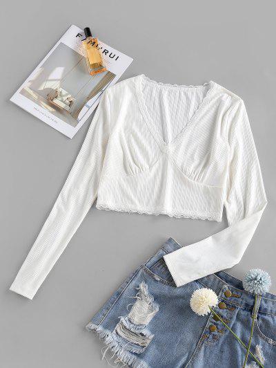 ZAFUL Geripptes Crop T-Shirt Mit Spitzeneinsatz - Weiß Xl