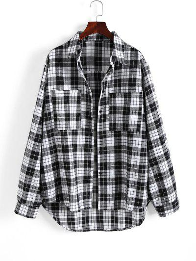 Front Pocket Checked High Low Shacket - Black M